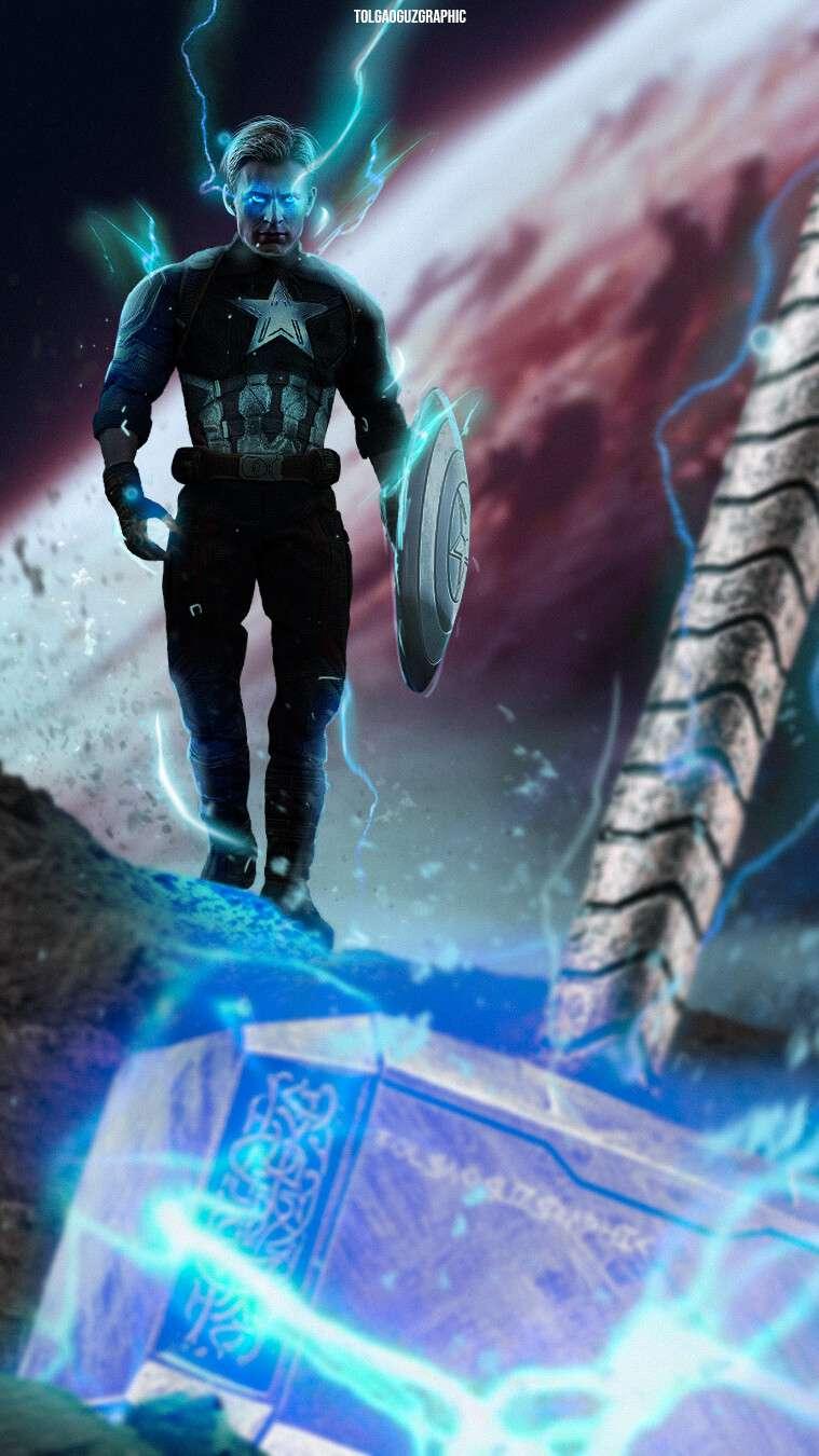 Thor Mjolnir and Captain America iPhone Wallpaper
