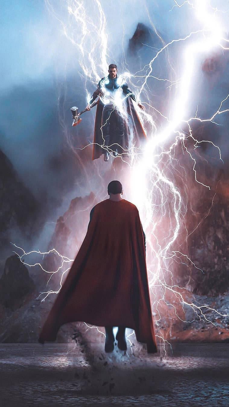 Thor vs Superman iPhone Wallpaper