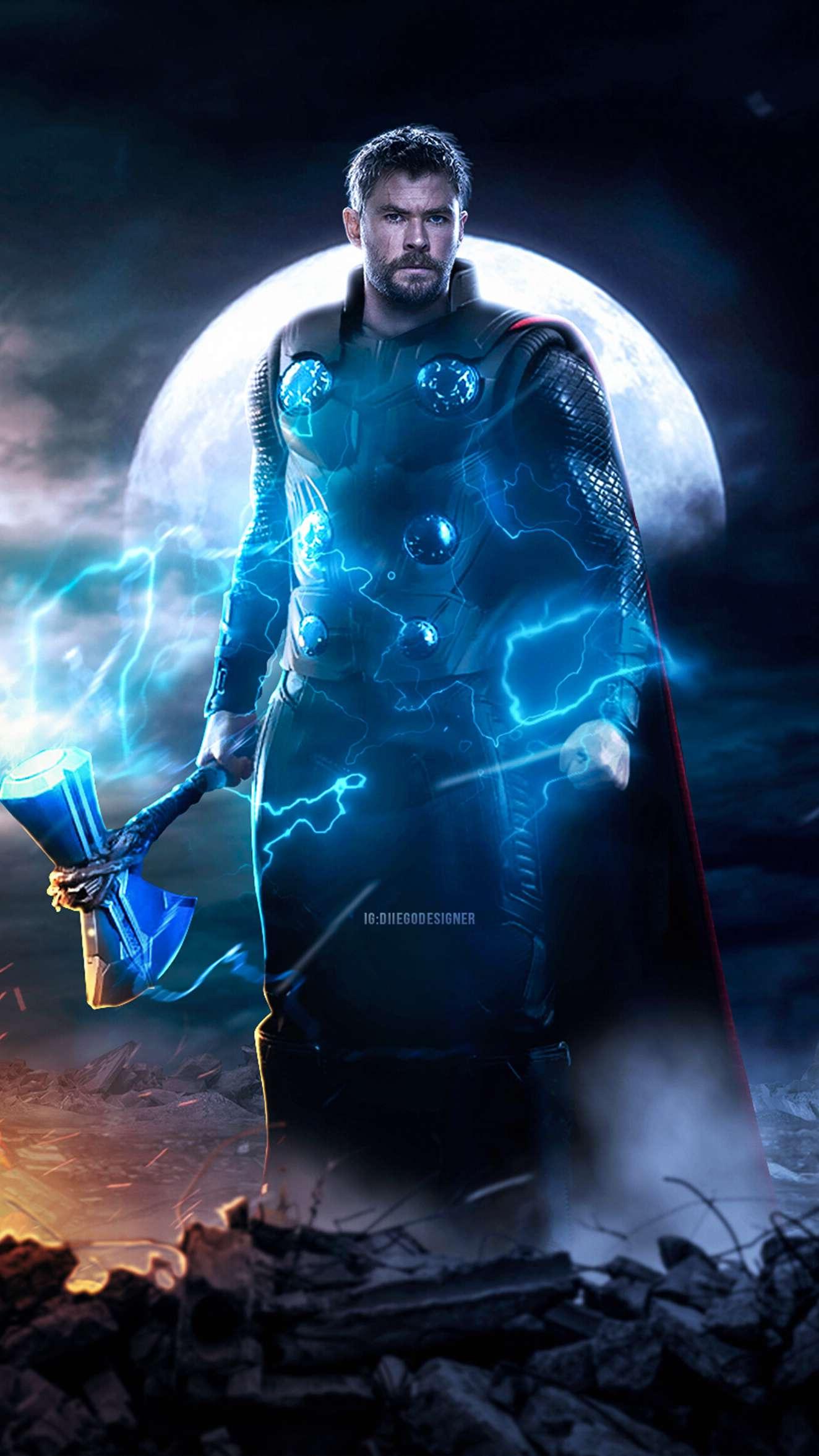 Thor with Stormbreaker Art iPhone Wallpaper
