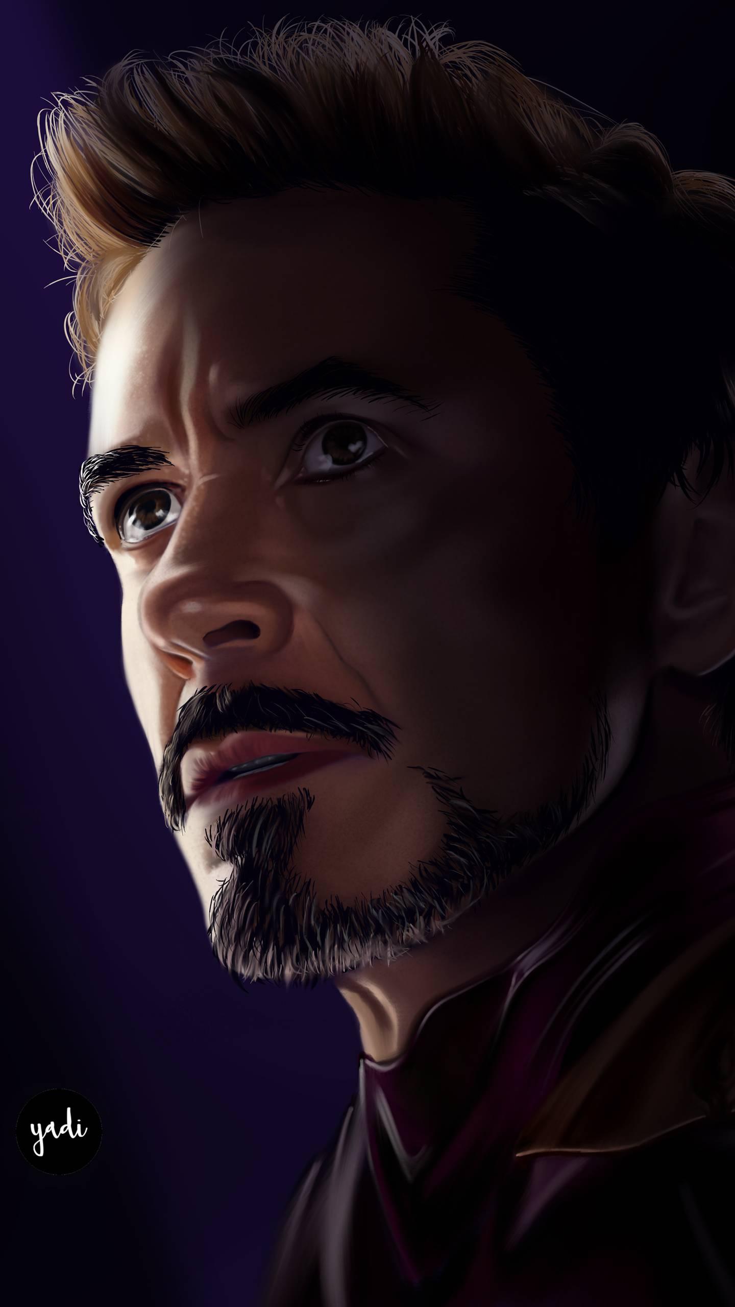 Tony Stark Portrait Art iPhone Wallpaper