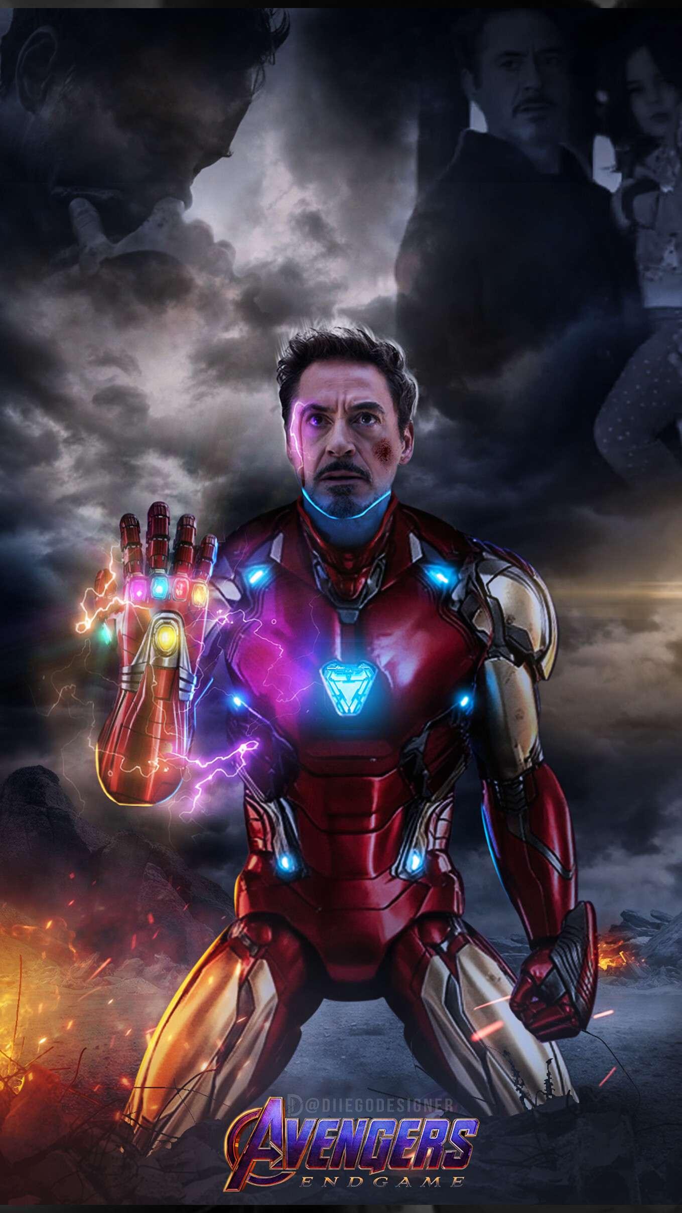 Tony Stark Snap Infinity Stones iPhone Wallpaper