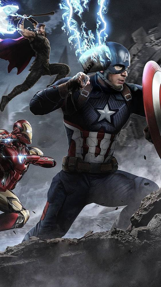 Avengers Battle Captain America Holds Mjolnir iPhone Wallpaper