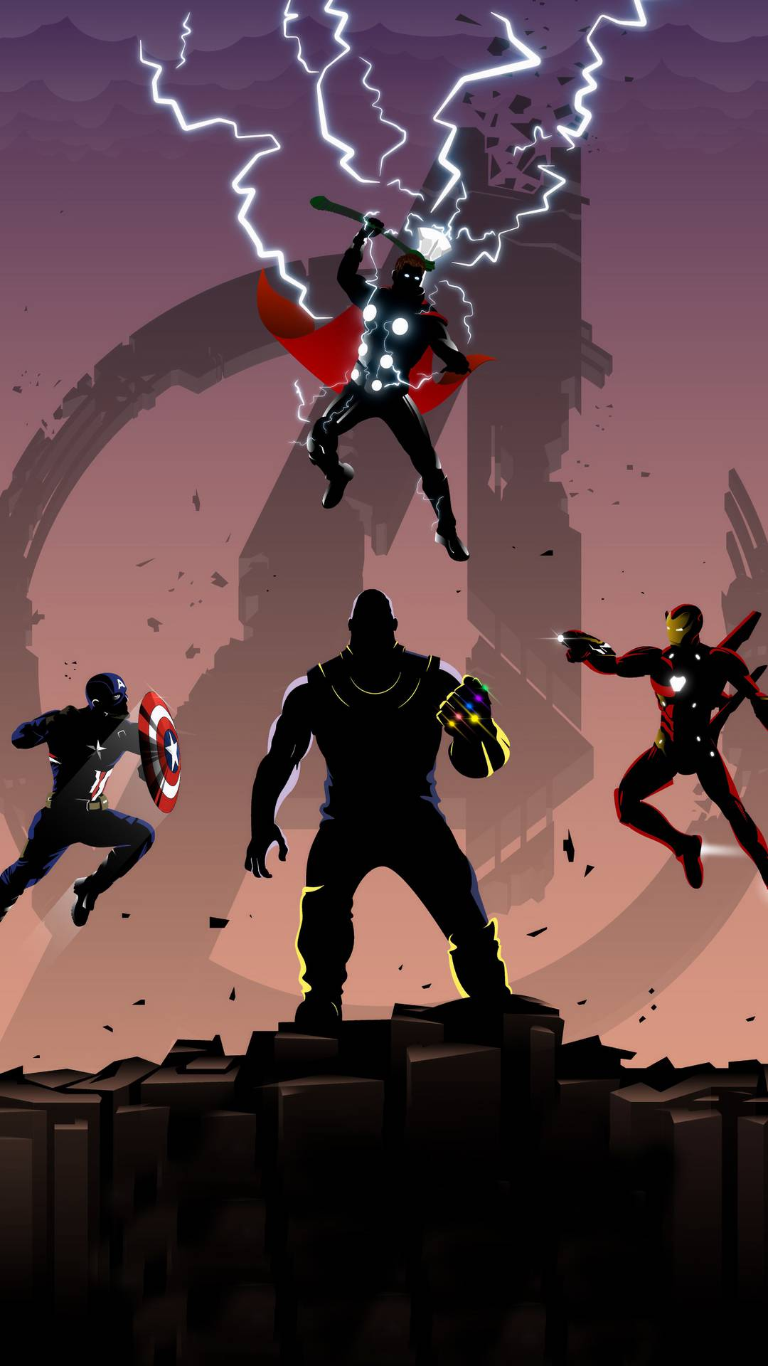 Avengers Trinity vs Thanos iPhone Wallpaper