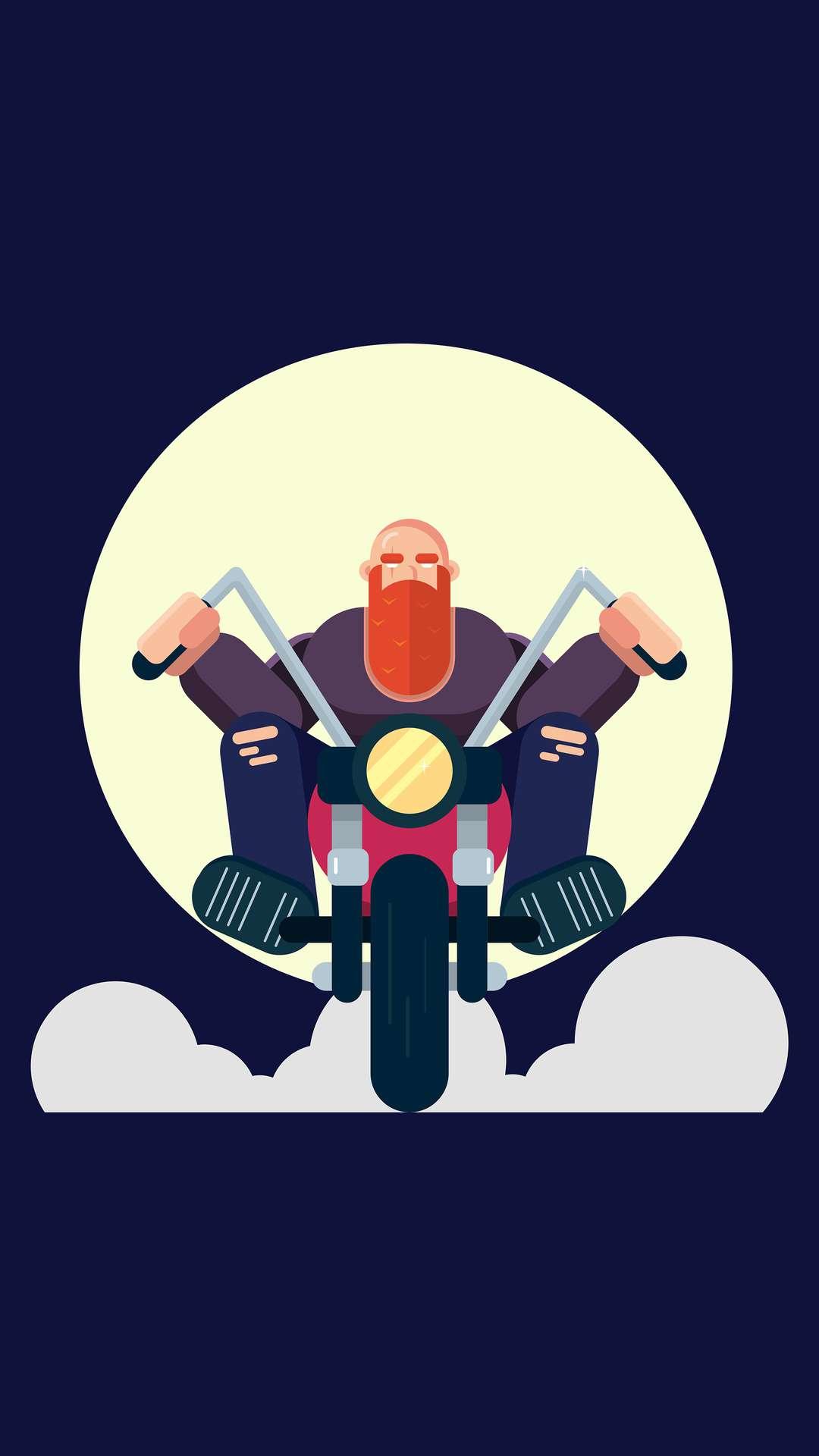 Beard Biker iPhone Wallpaper