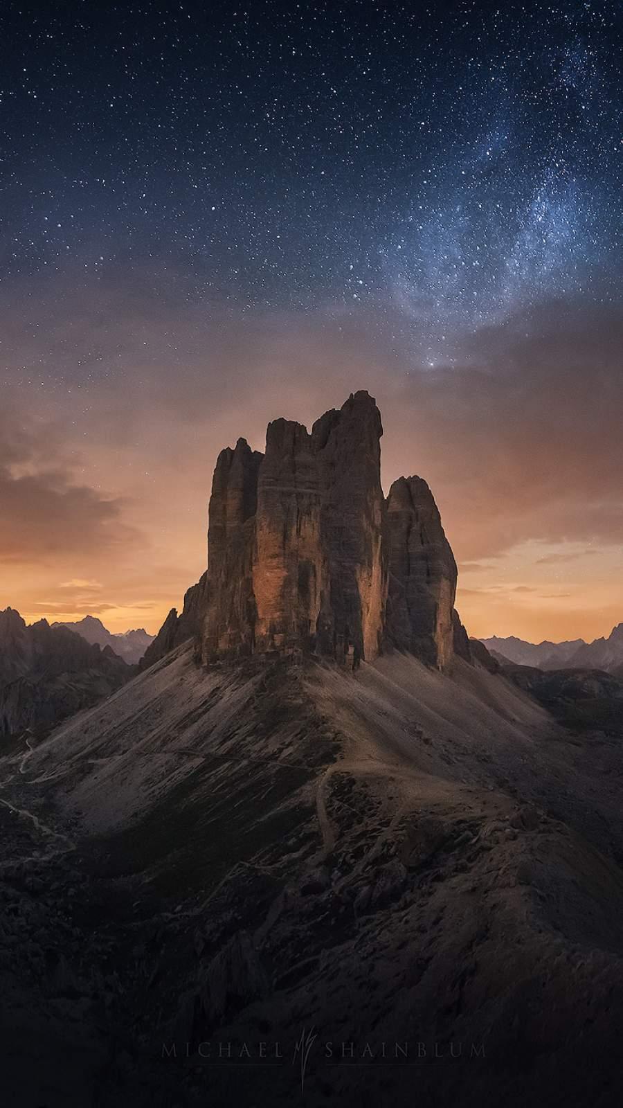 Big Rock Mountain Night Starry Sky iPhone Wallpaper