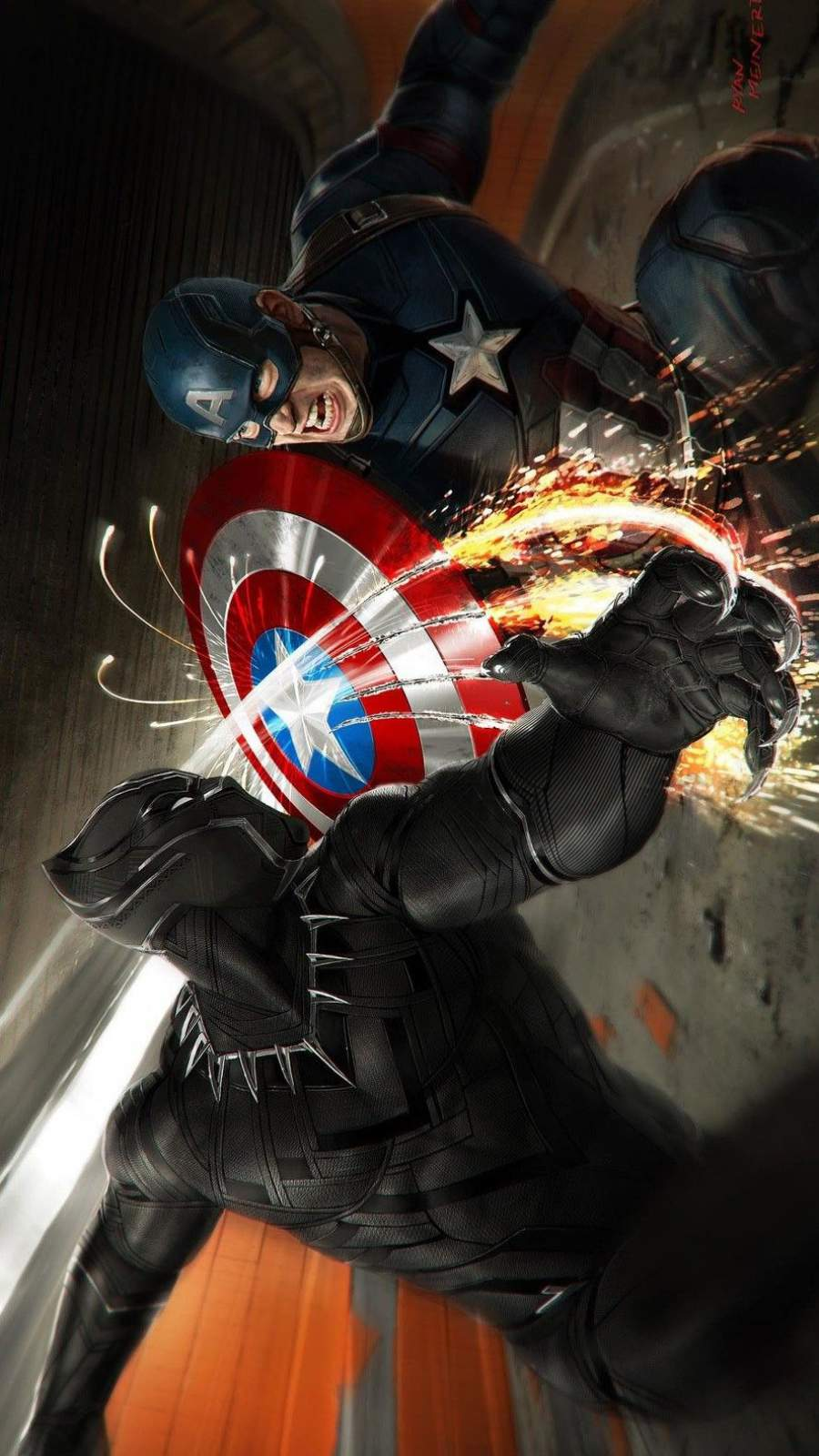 Black Panther vs Captain America iPhone Wallpaper