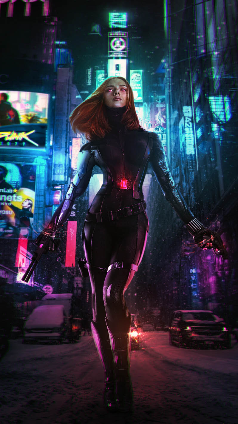Black Widow Cyberpunk iPhone Wallpaper