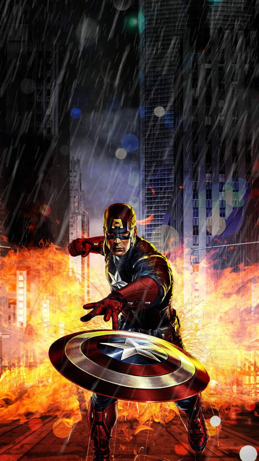 Captain America Action iPhone Wallpaper