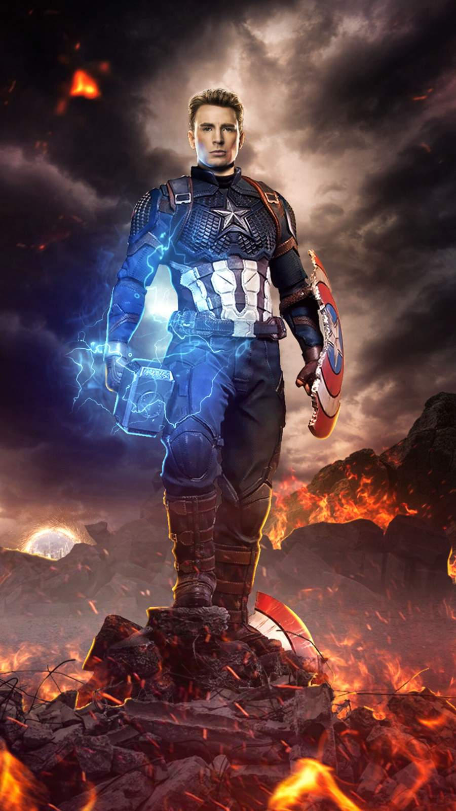 Captain America Final Battle Worthy Mjolnir iPhone Wallpaper