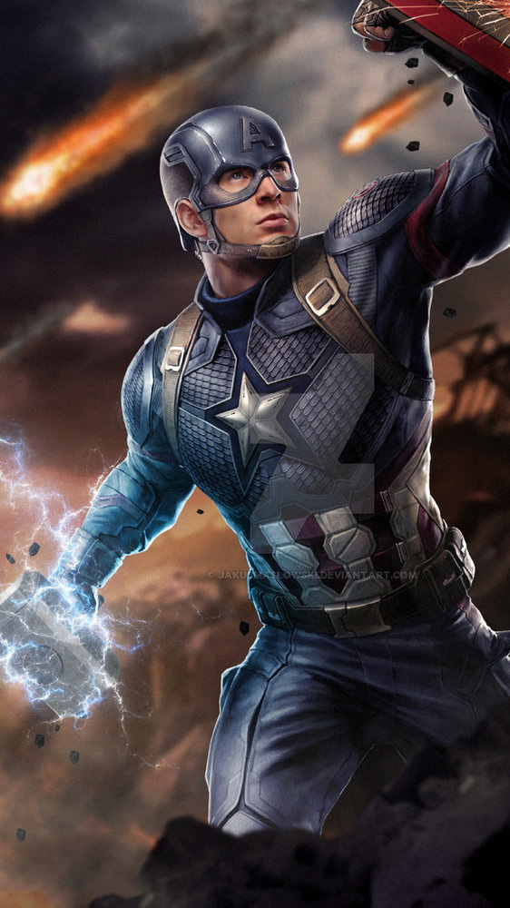 Captain America Holding Thor Hammer Mjolnir iPhone Wallpaper