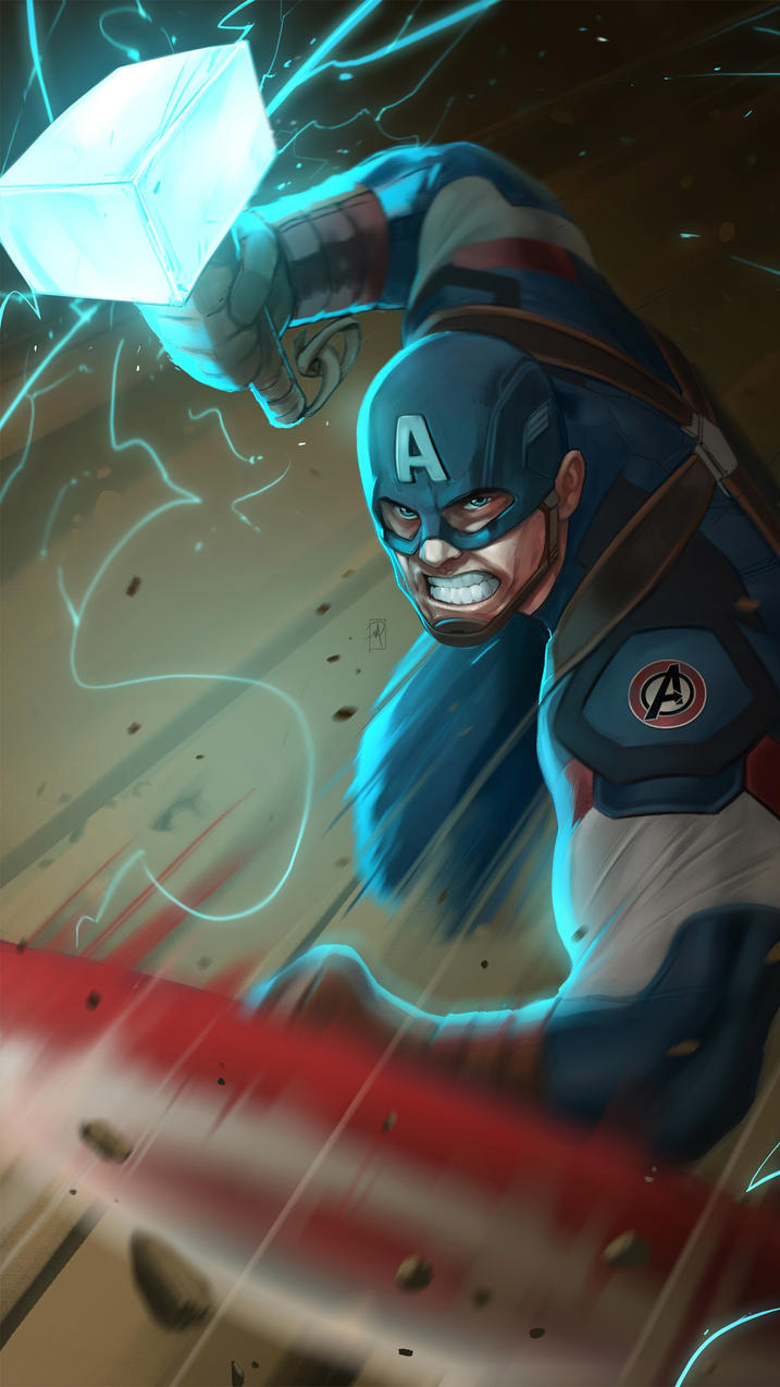 Captain America Holds Thor Hammer iPhone Wallpaper