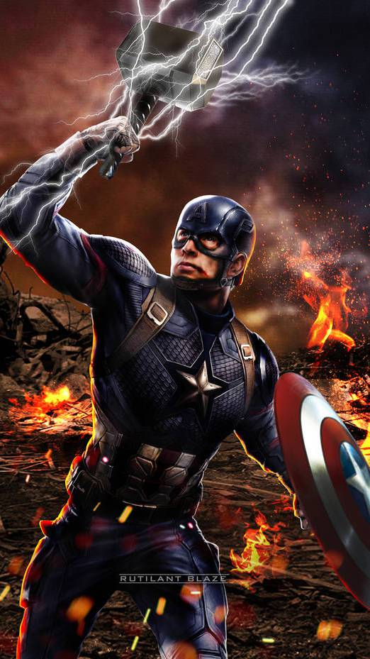 Captain America Lifts Mjolnir and Shield iPhone Wallpaper