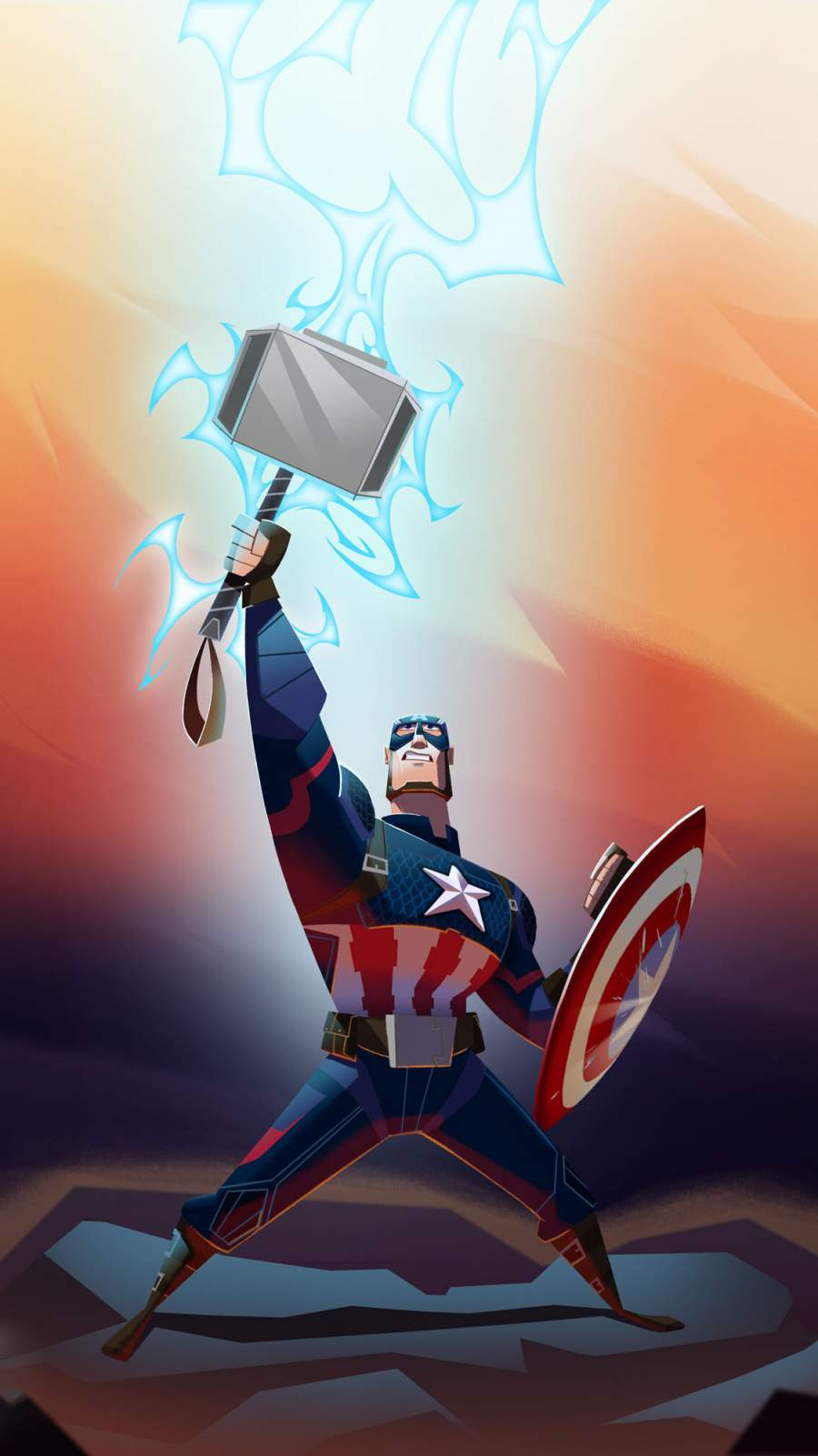 Captain America Lifts Thor Hammer Animated iPhone Wallpaper