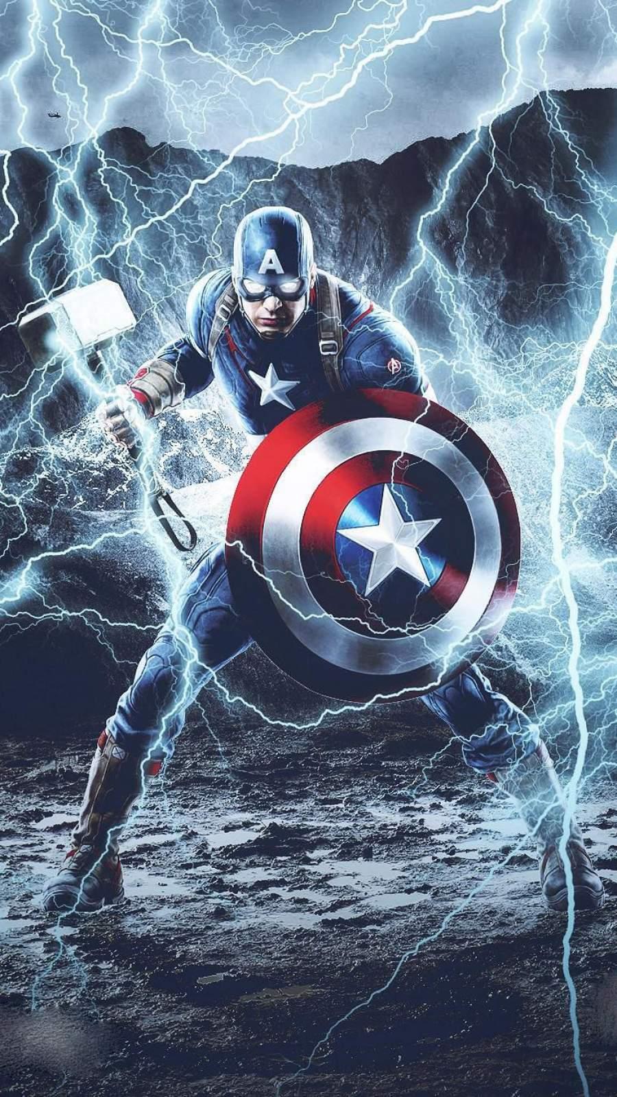 Captain America Mjolnir Thunder iPhone Wallpaper