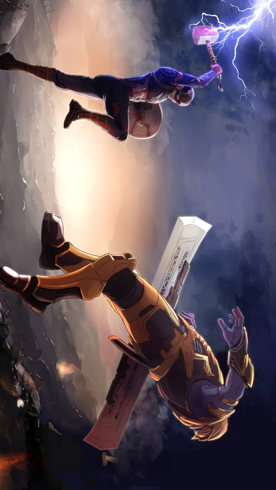 Captain America Mjolnir vs Thanos iPhone Wallpaper
