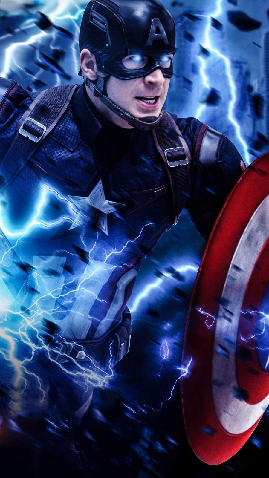 Captain America Thor Hammer Thunder iPhone Wallpaper