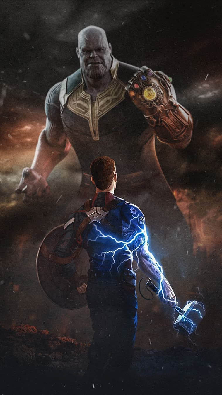 Captain America With Mjolnir vs Thanos iPhone Wallpaper