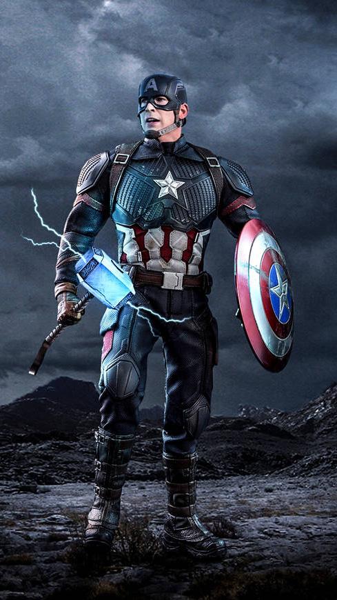 Captain America Worthy Mjolnir iPhone Wallpaper