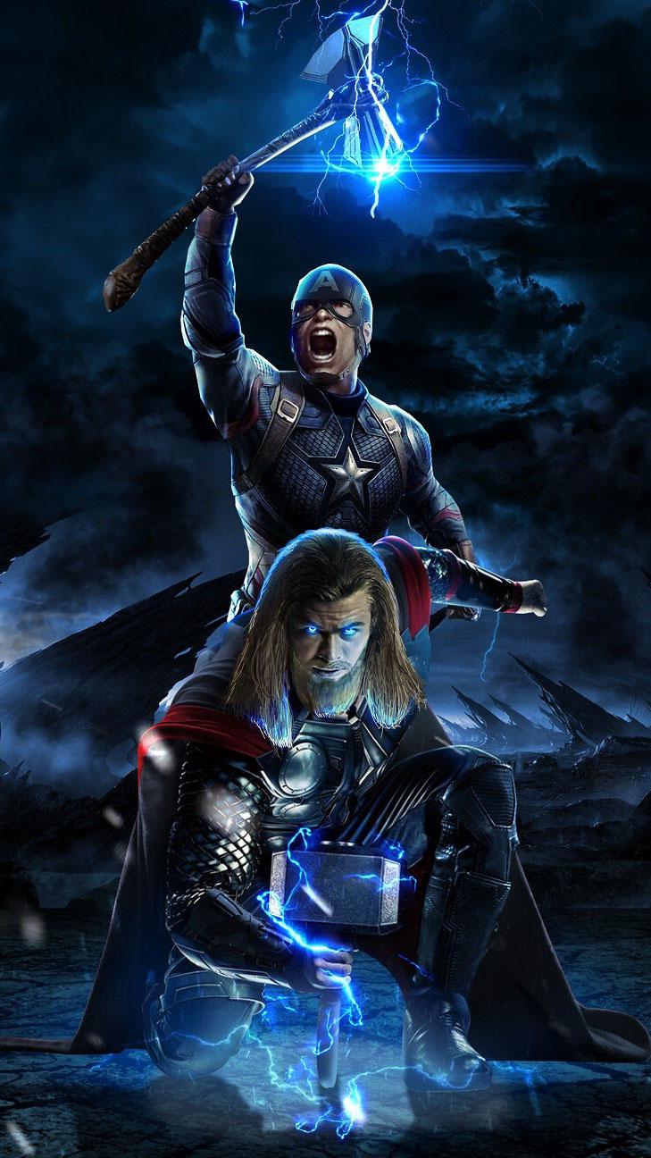 Captain America and Thor Avengers Endgame Battle iPhone Wallpaper