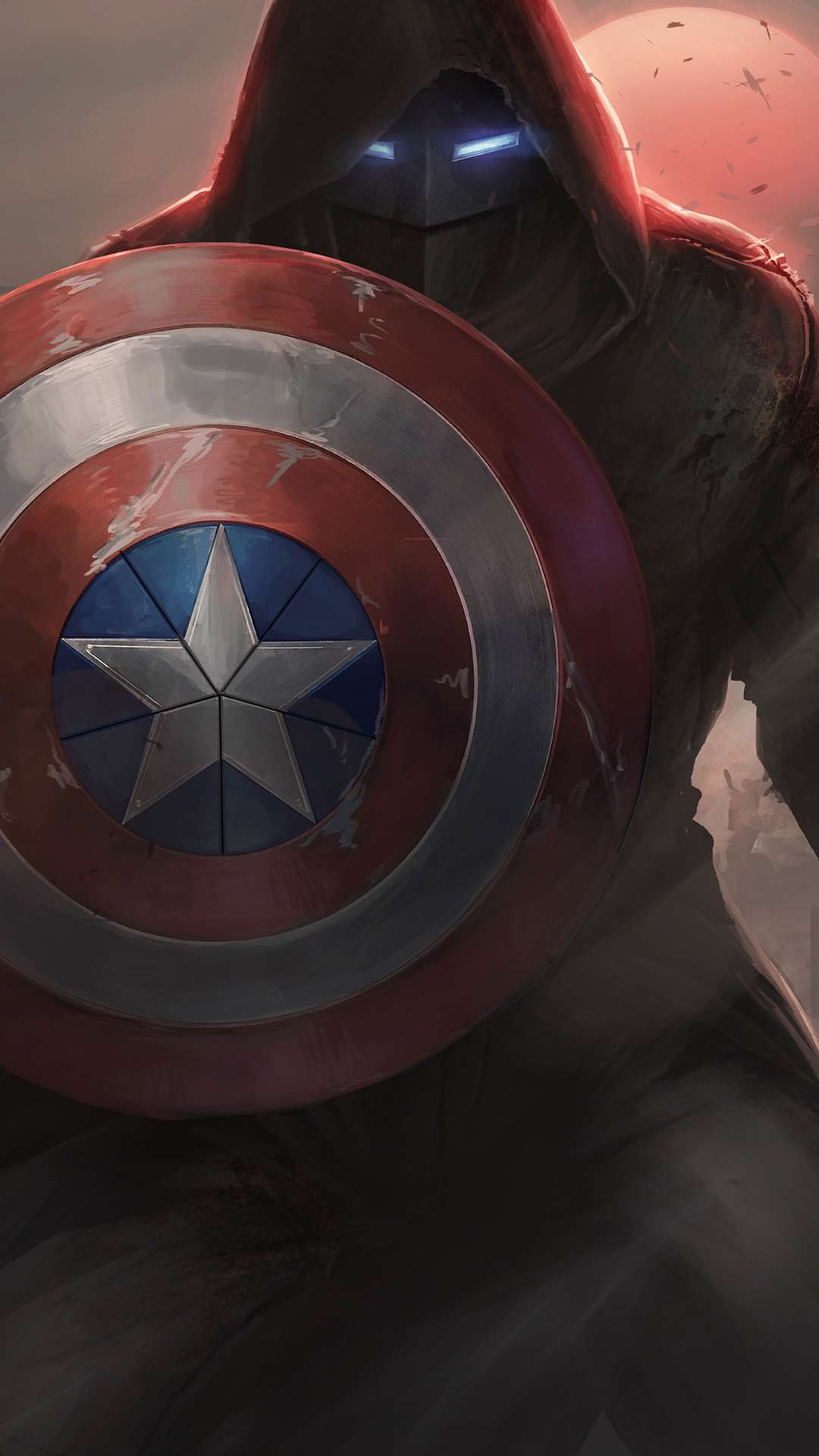 Captain America with Iron Mask iPhone Wallpaper
