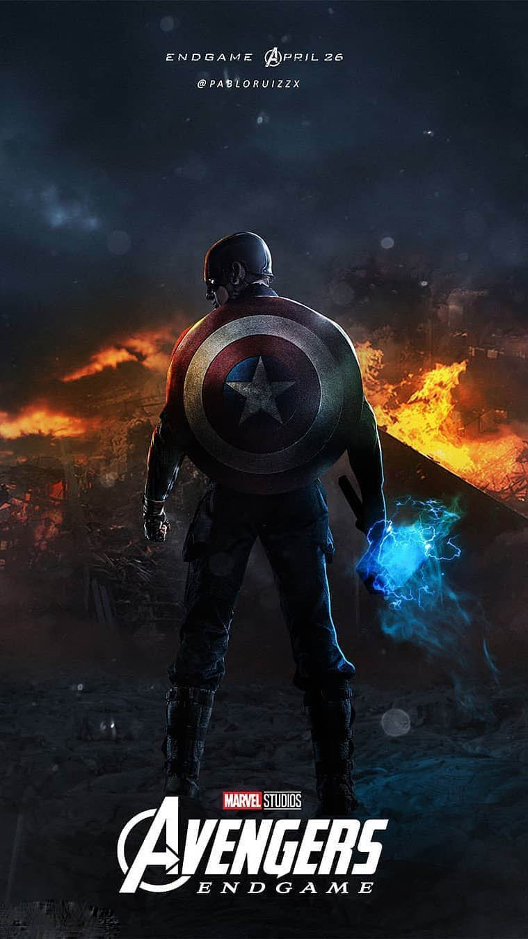 Captain America with Mjolnir Endgame iPhone Wallpaper