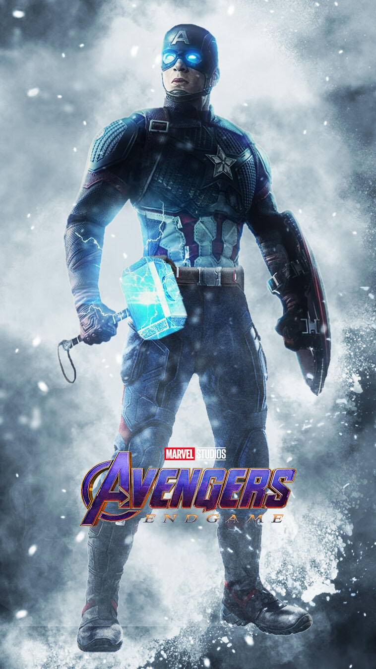 Captain America with Mjolnir iPhone Wallpaper