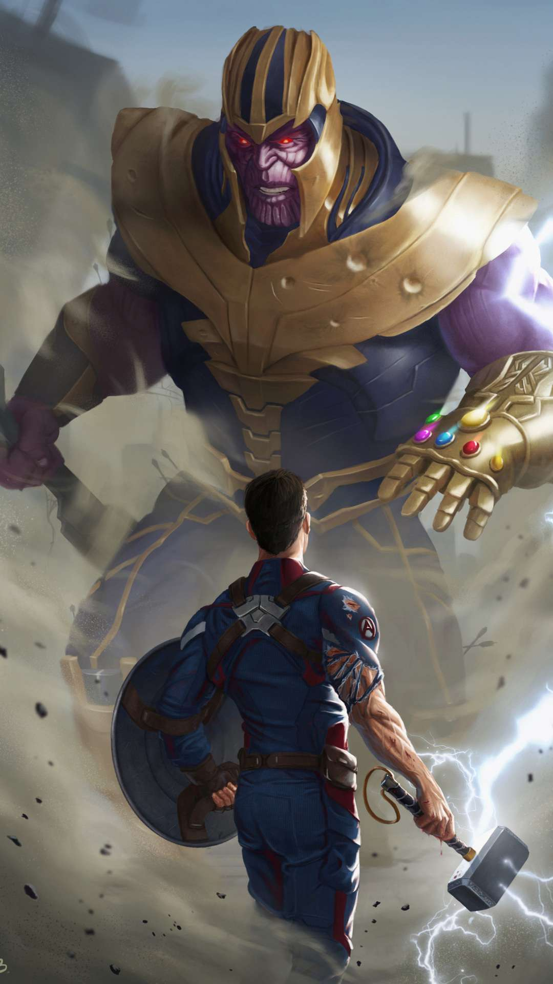 Captain America with Thor Hammer Fighting Thanos iPhone Wallpaper