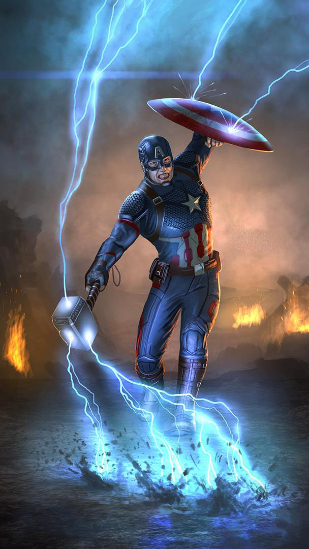 Captain America with Thor Hammer and Shield iPhone Wallpaper