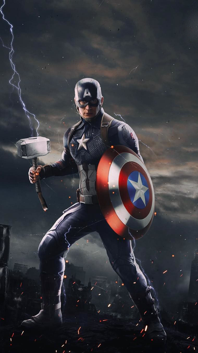 Captain America with Thor Mjolnir iPhone Wallpaper