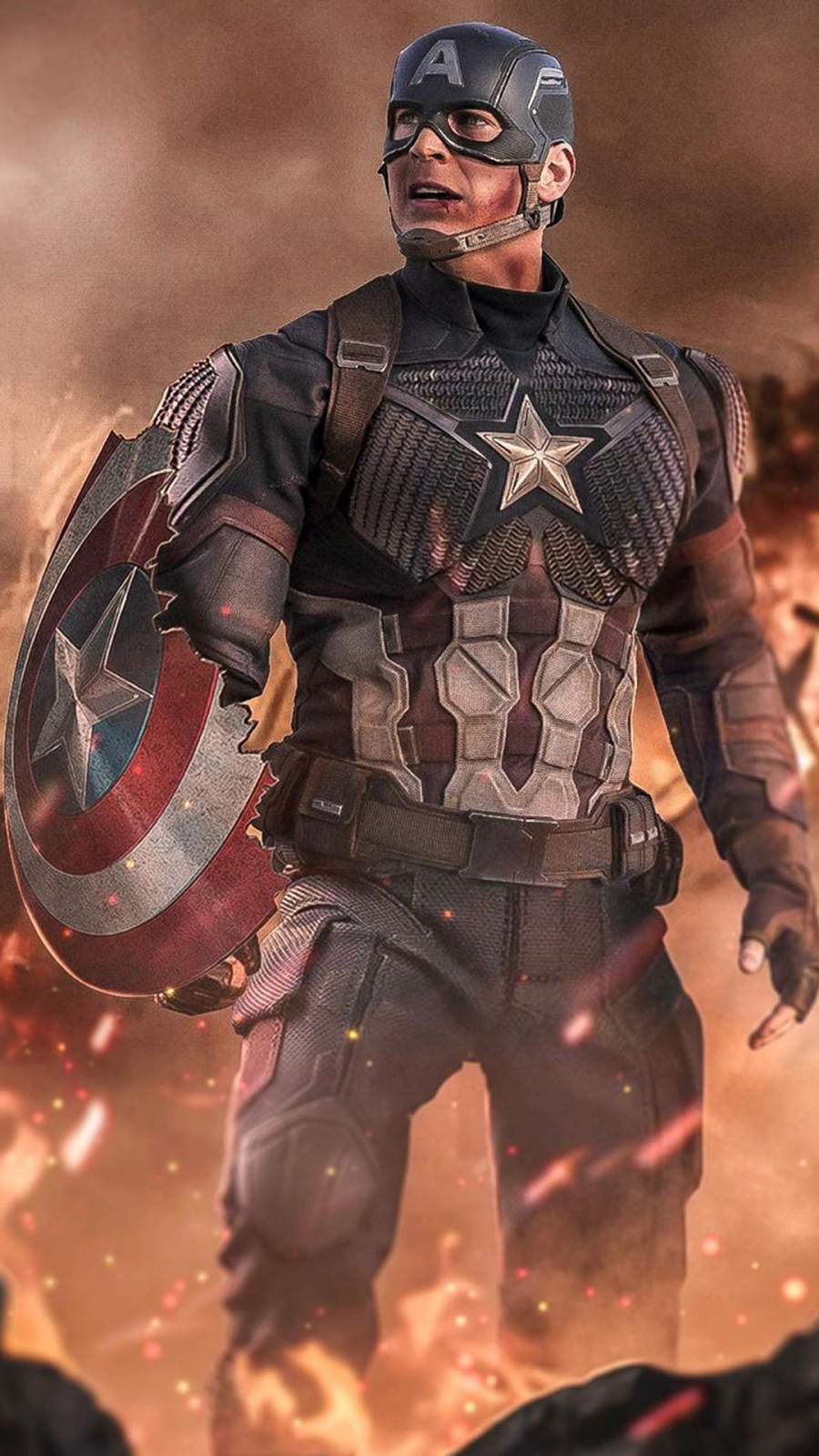 Captain America with his Broken Shield iPhone Wallpaper