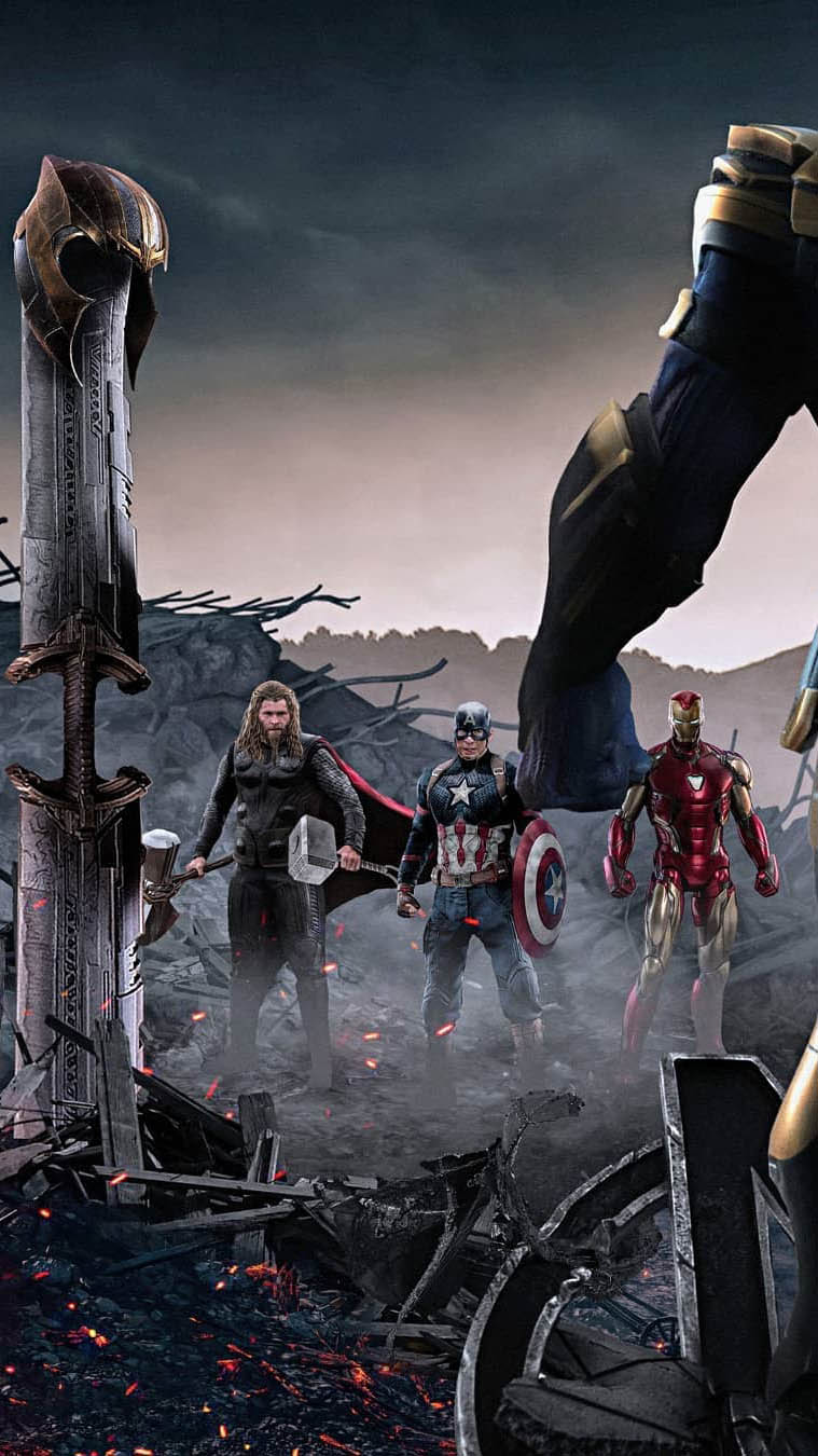 Captain Iron Man and Thor Against Thanos iPhone Wallpaper