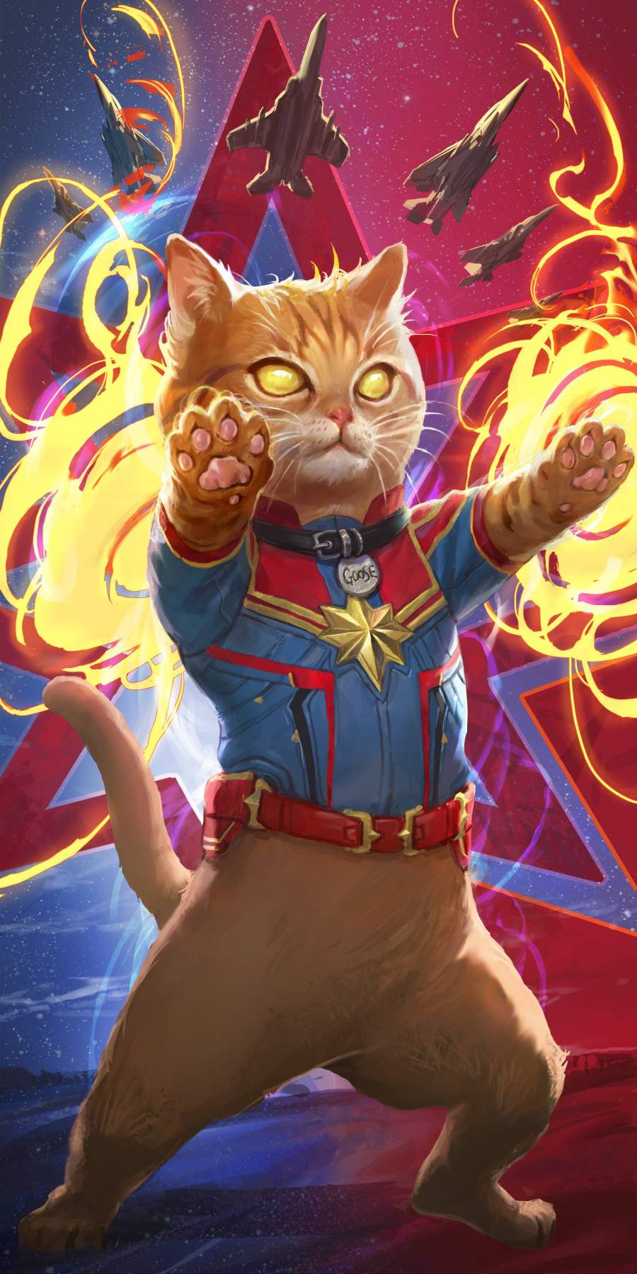 Captain Marvel Cat iPhone Wallpaper