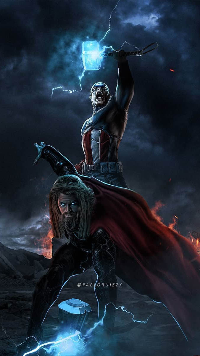 Captain and Thor iPhone Wallpaper