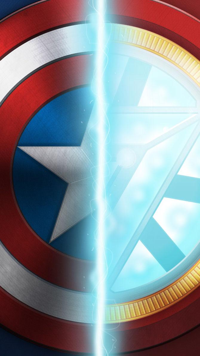 Captain vs Iron Man iPhone Wallpaper 1