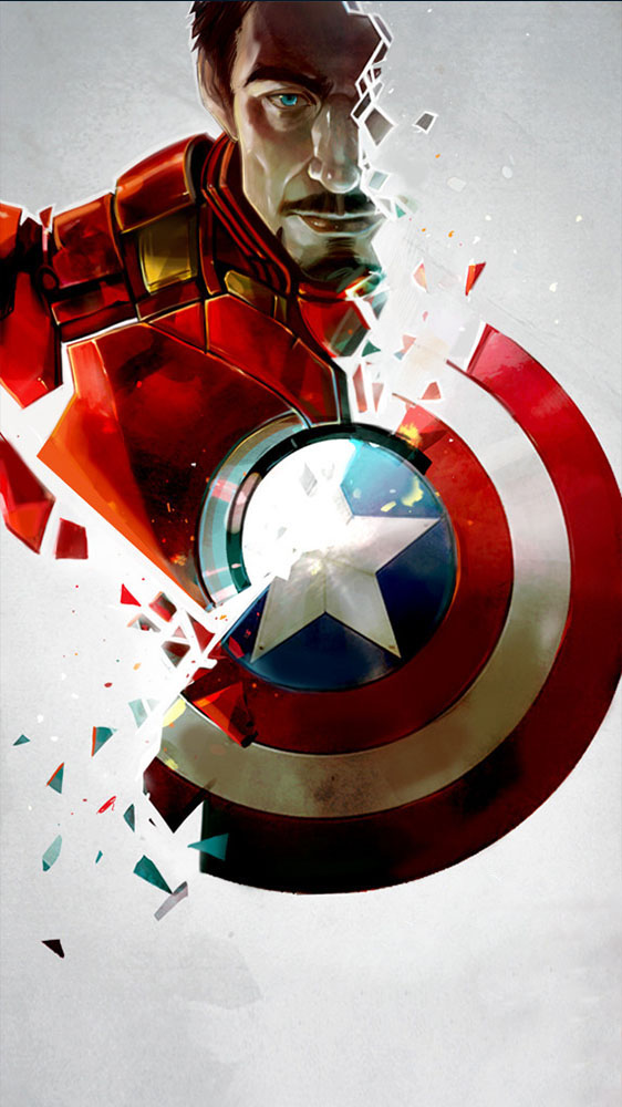 Captain vs Iron Man iPhone Wallpaper