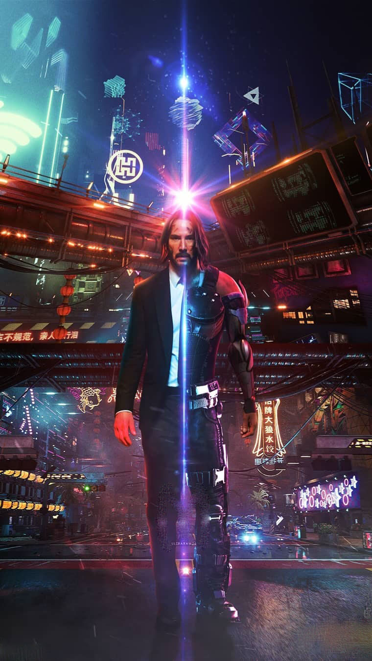 Cyberpunk 2077 Keanu Reeves John Wick iPhone Wallpaper