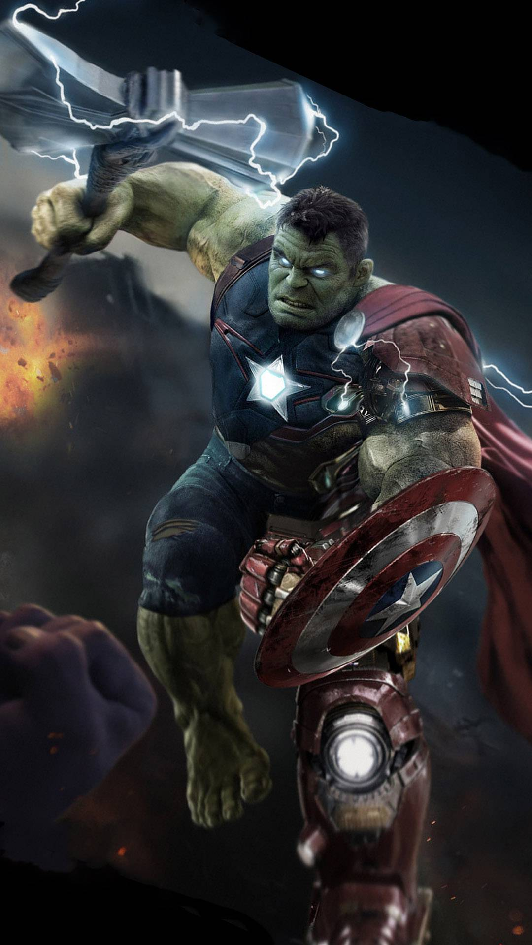 Hulk Lifts Thor Stormbreaker iPhone Wallpaper