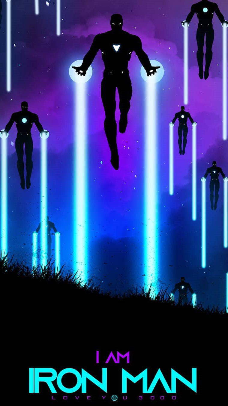 i am iron man neon art iphone wallpaper