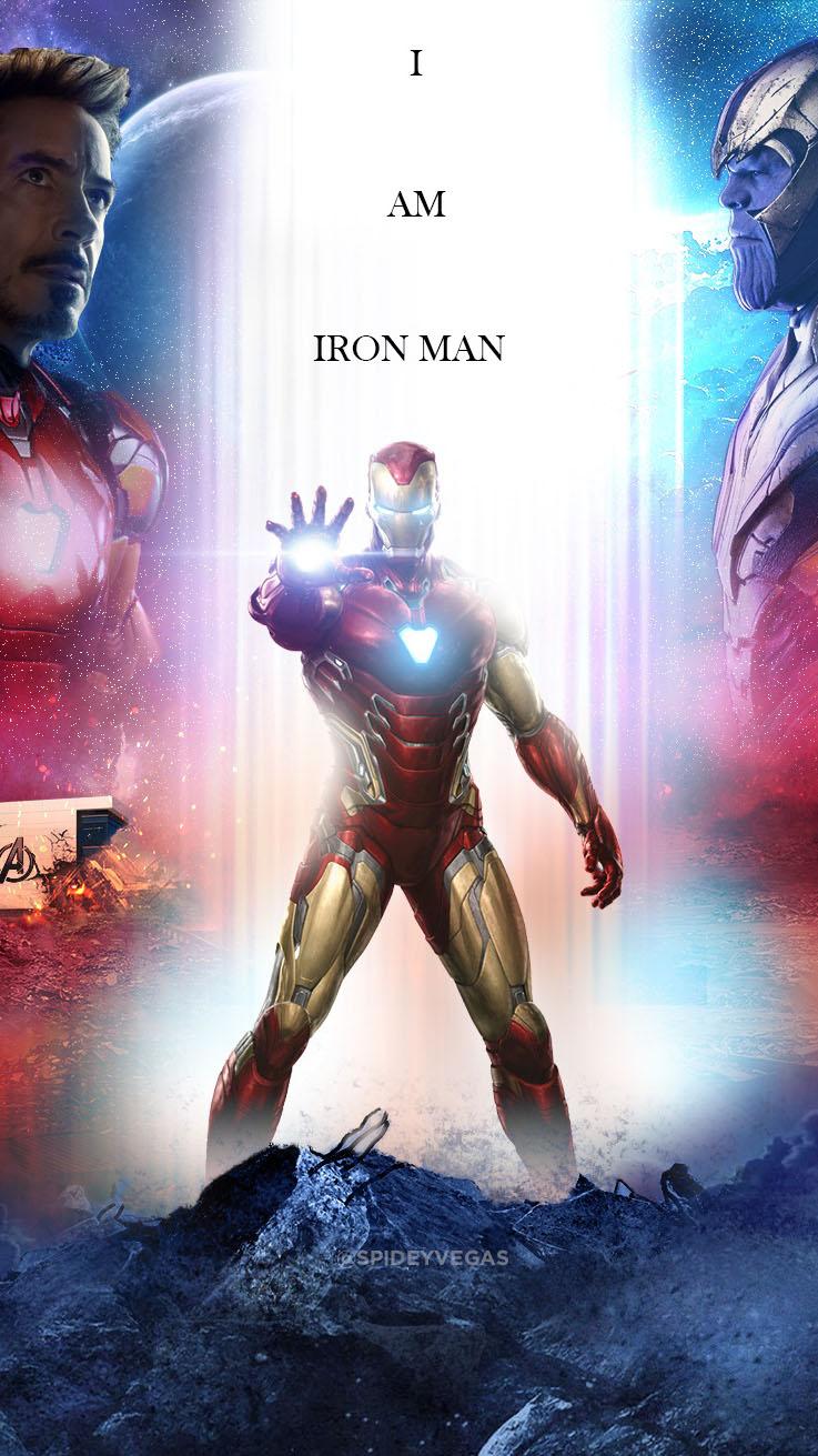 I am Iron Man Thanos Fight iPhone Wallpaper