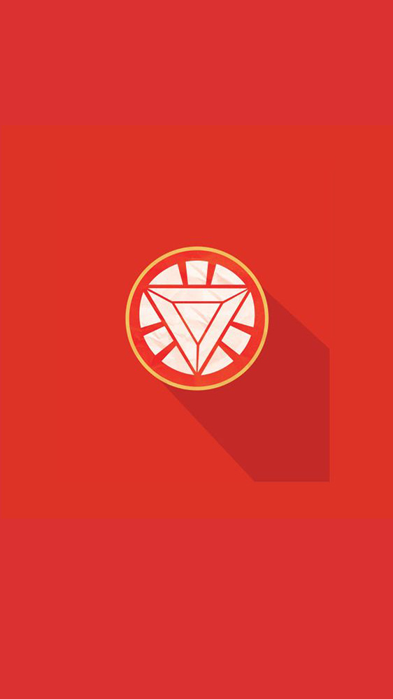 Iron Man Arc Reactor Flat Icon iPhone Wallpaper