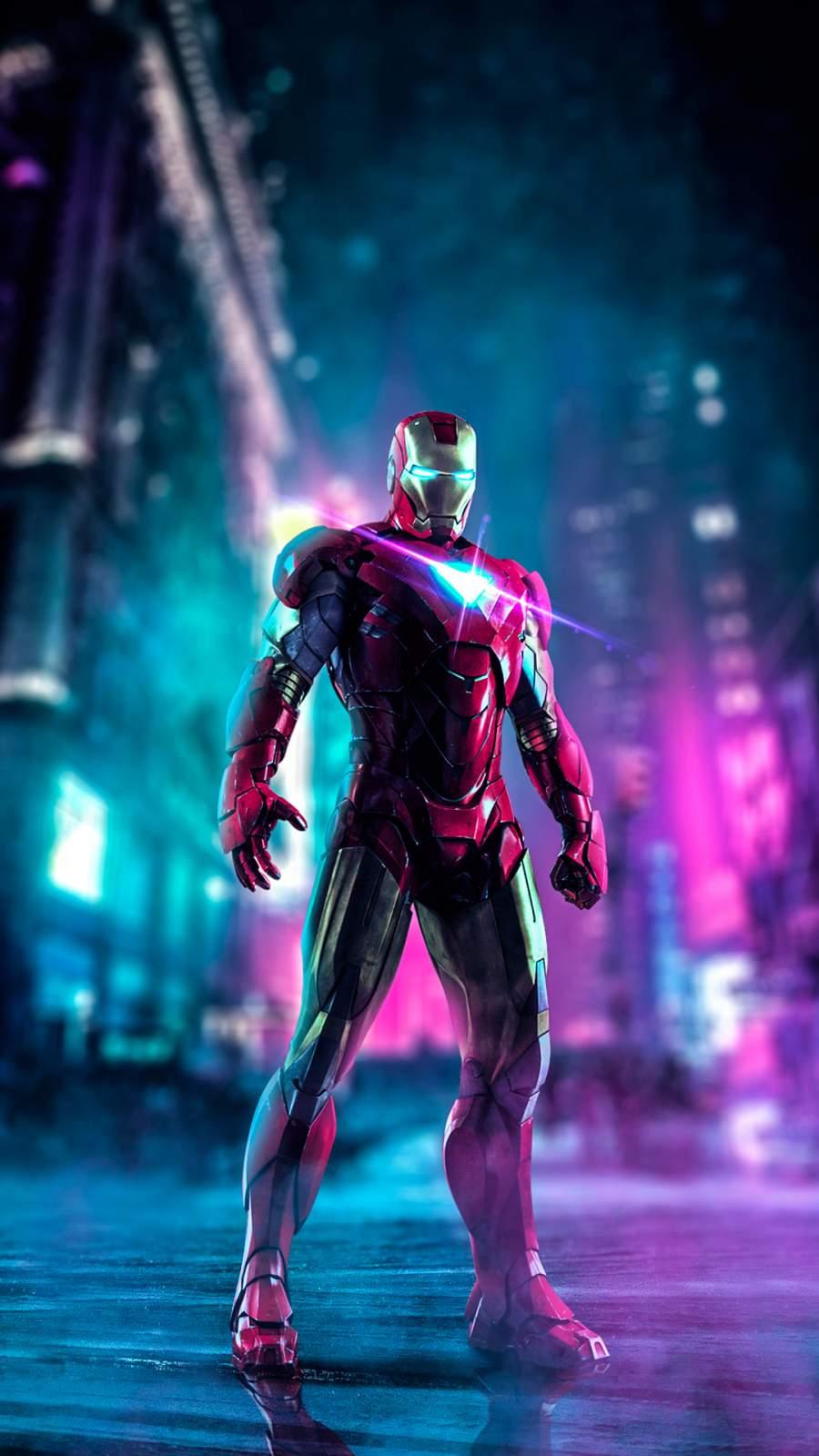 Iron Man City Art iPhone Wallpaper