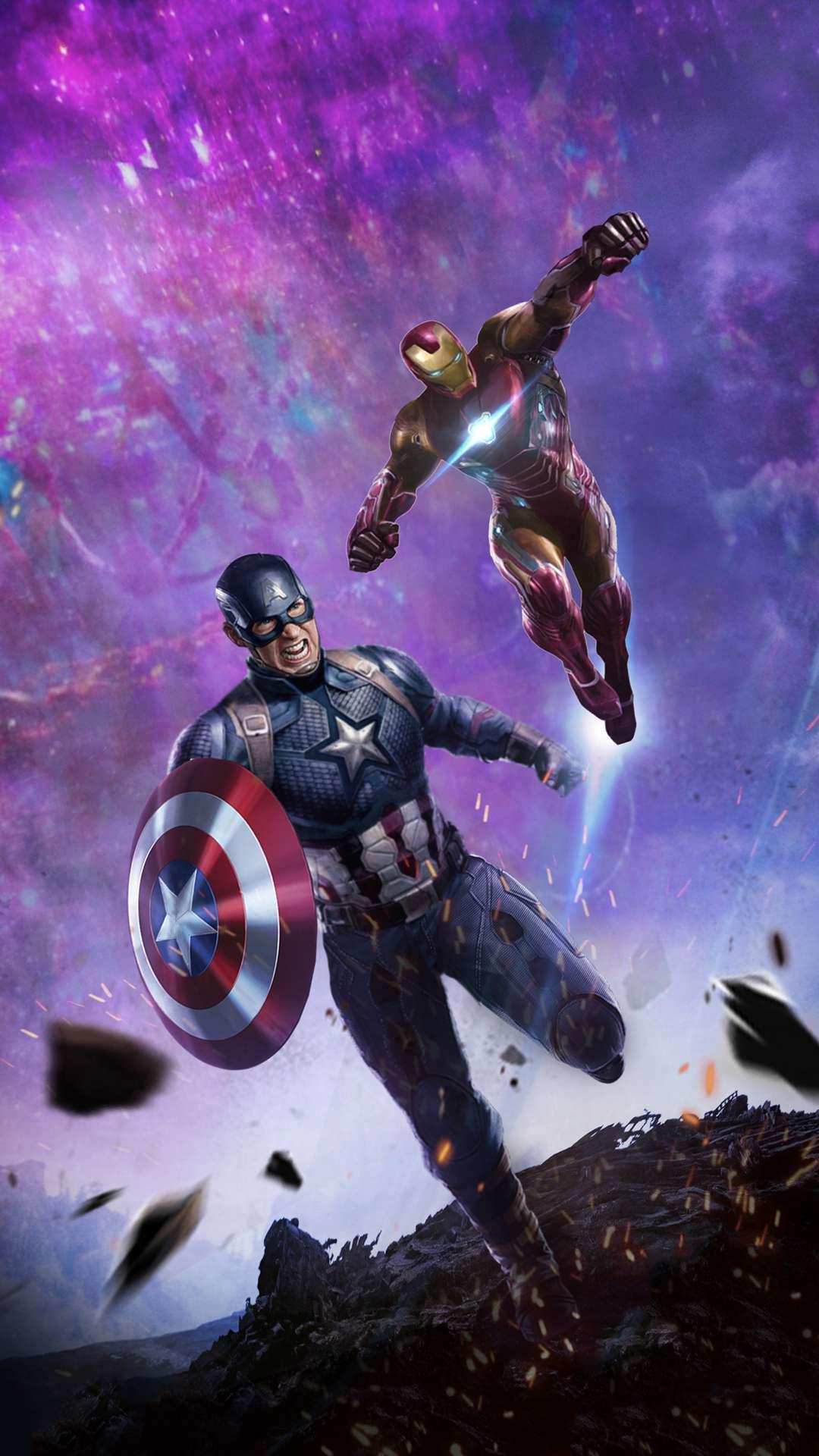 Iron Man and Captain America Endgame Battle iPhone Wallpaper