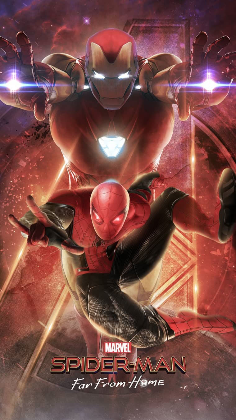 Iron Man and Spiderman Far From Home iPhone Wallpaper