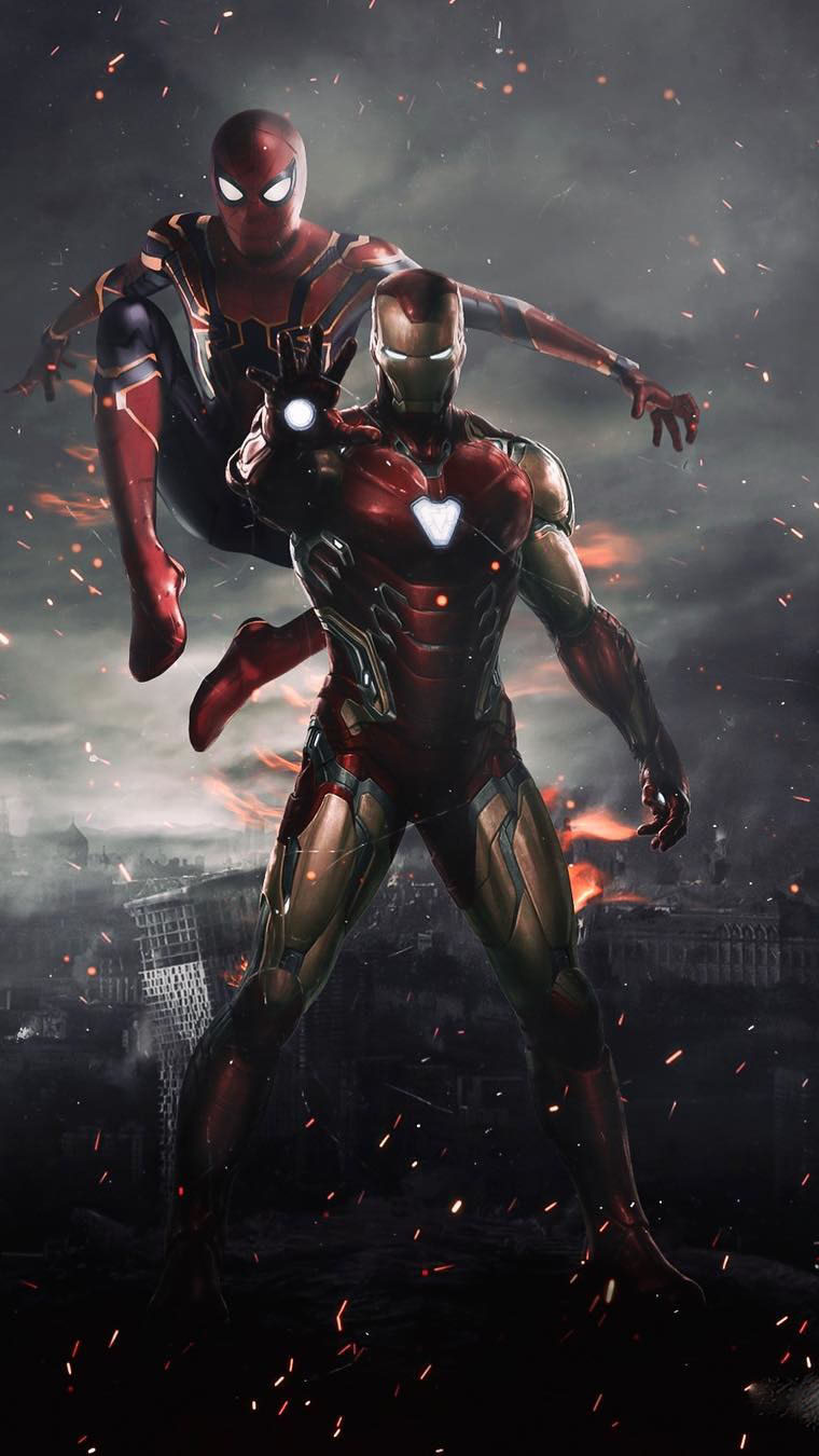 Iron Man and Spidey iPhone Wallpaper