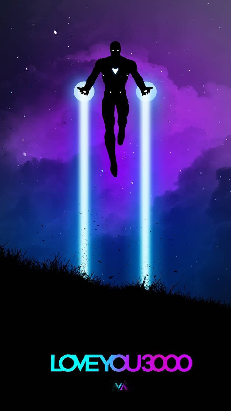 Love You 3000 Iron Man Neon Art iPhone Wallpaper