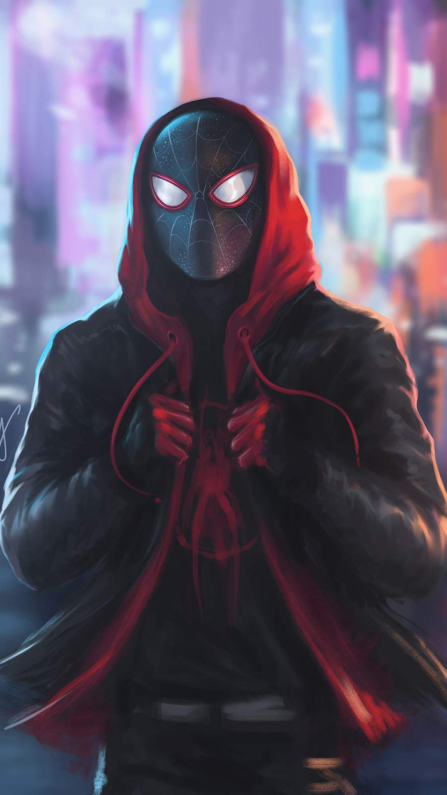 Miles Morales Spiderman in Hoodie iPhone Wallpaper