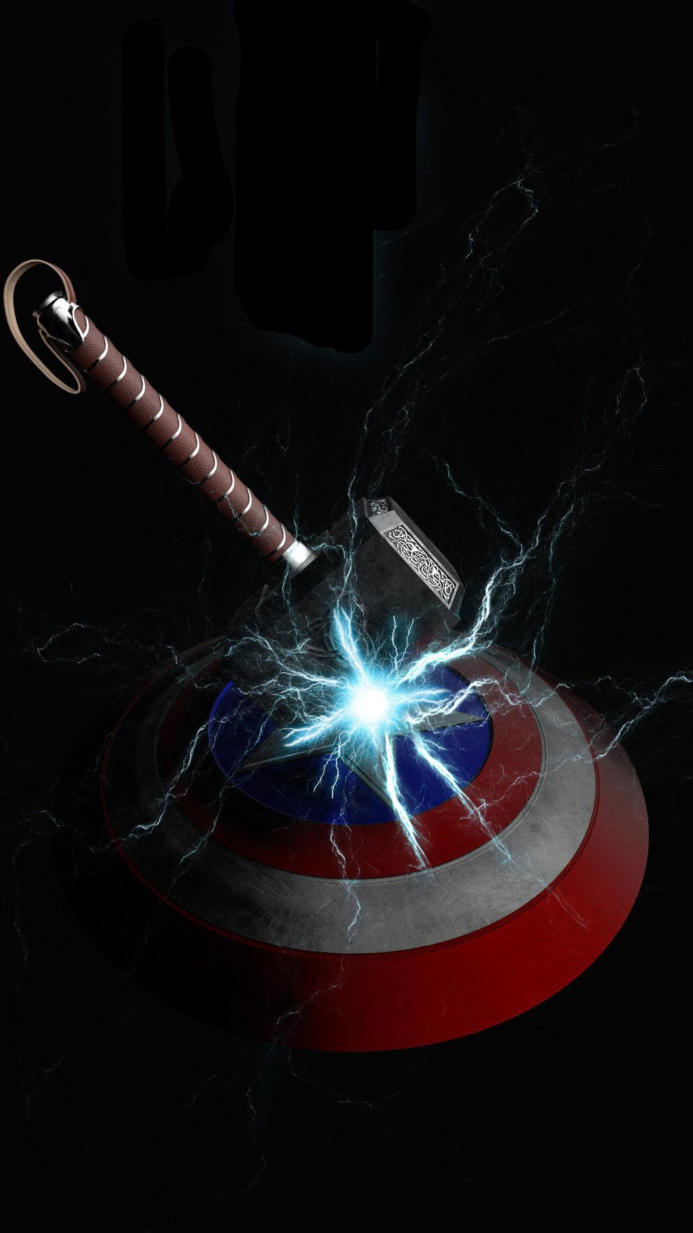 Mjolnir vs Captain America Shield iPhone Wallpaper