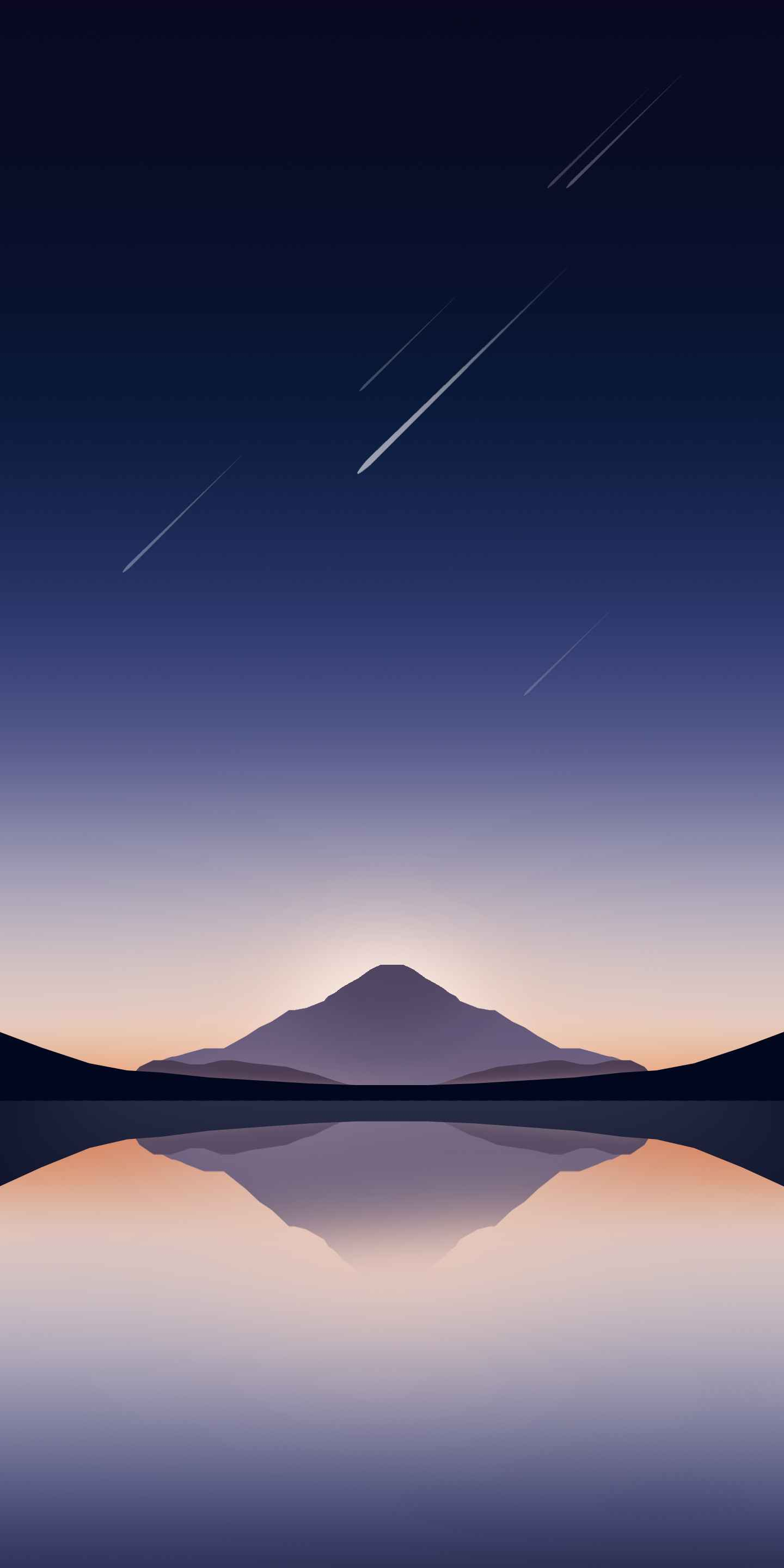 Mountain and Meteors iPhone Wallpaper