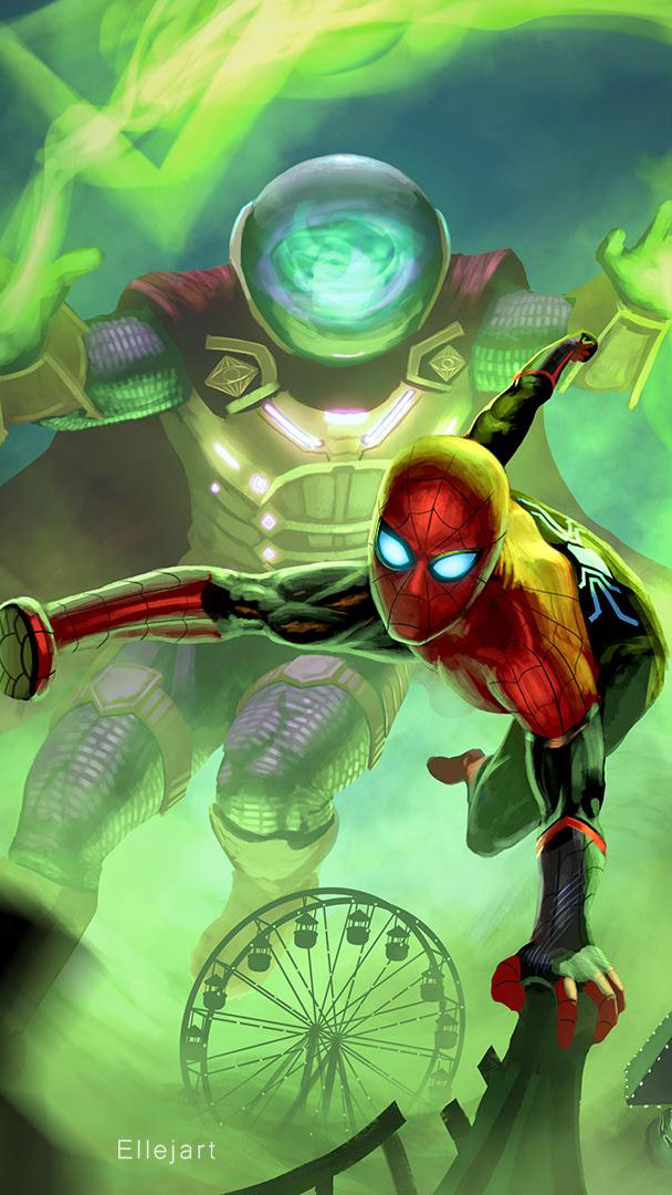 Mysterio vs Spiderman iPhone Wallpaper