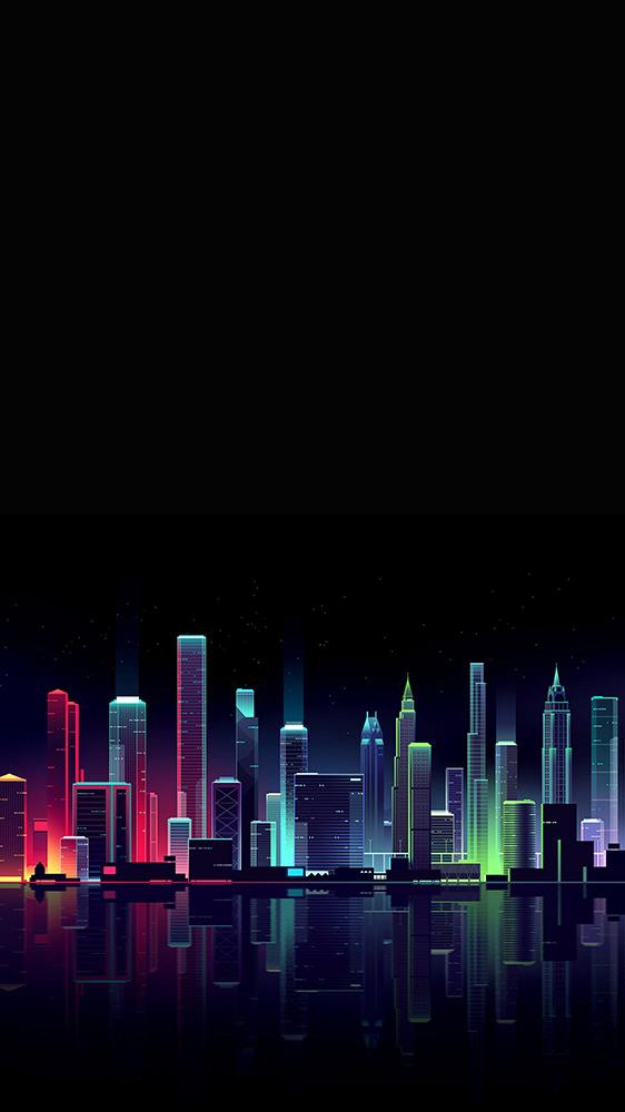 Neon City Night iPhone Wallpaper